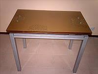 Стол обеденный стеклянный раскладной В 179-40 Цвет шампань