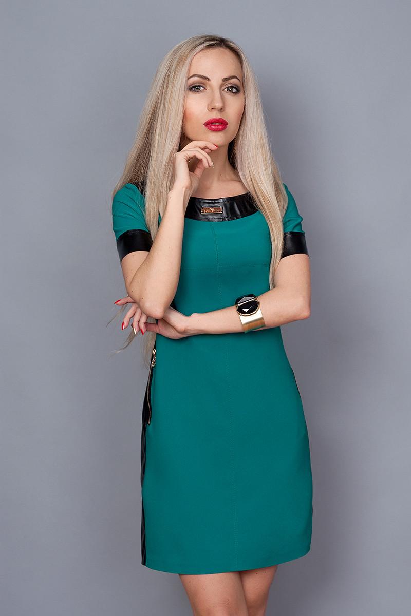 Платье мод. 382-1,размер 40 морская волна