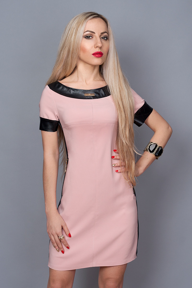 Платье мод. 382-2,размер 44,46,48 пудра