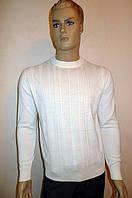 Белый элитный джемпер Gianni Marcelo с кожаными вставками, фото 1
