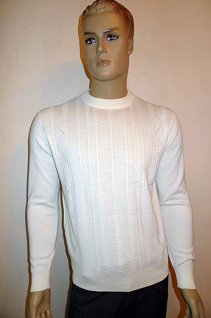 Белый элитный джемпер Gianni Marcelo с кожаными вставками