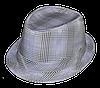 Шляпа челентанка х/б клетка светло-серая
