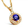 """Кулон позолоченный """"Blue diamond"""" cо вставкой крупного синего фианита"""