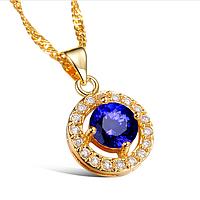 """Кулон позолоченный """"Blue diamond"""" cо вставкой крупного синего фианита, фото 1"""