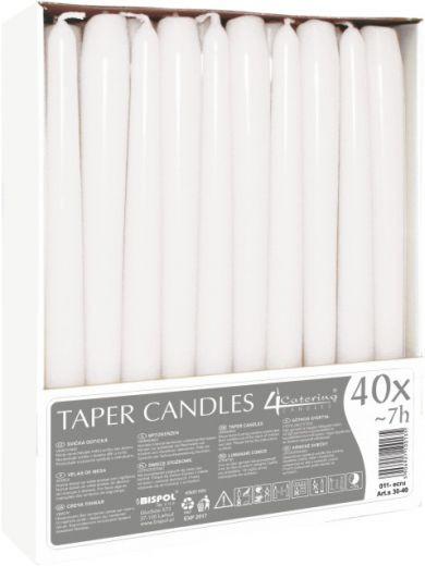 Свеча коническая белая Bispol 24,5 см 40 шт (s30-40-090)