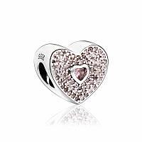 """Pandora (Пандора) серебряная бусина 925 пробы для браслета Pandora """"Розовое Сердце"""", фото 1"""