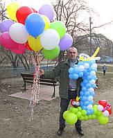 Набор Цифра 1 голубая из воздушных шариков и 25 гелиевых шаров  на Первый День Рождения