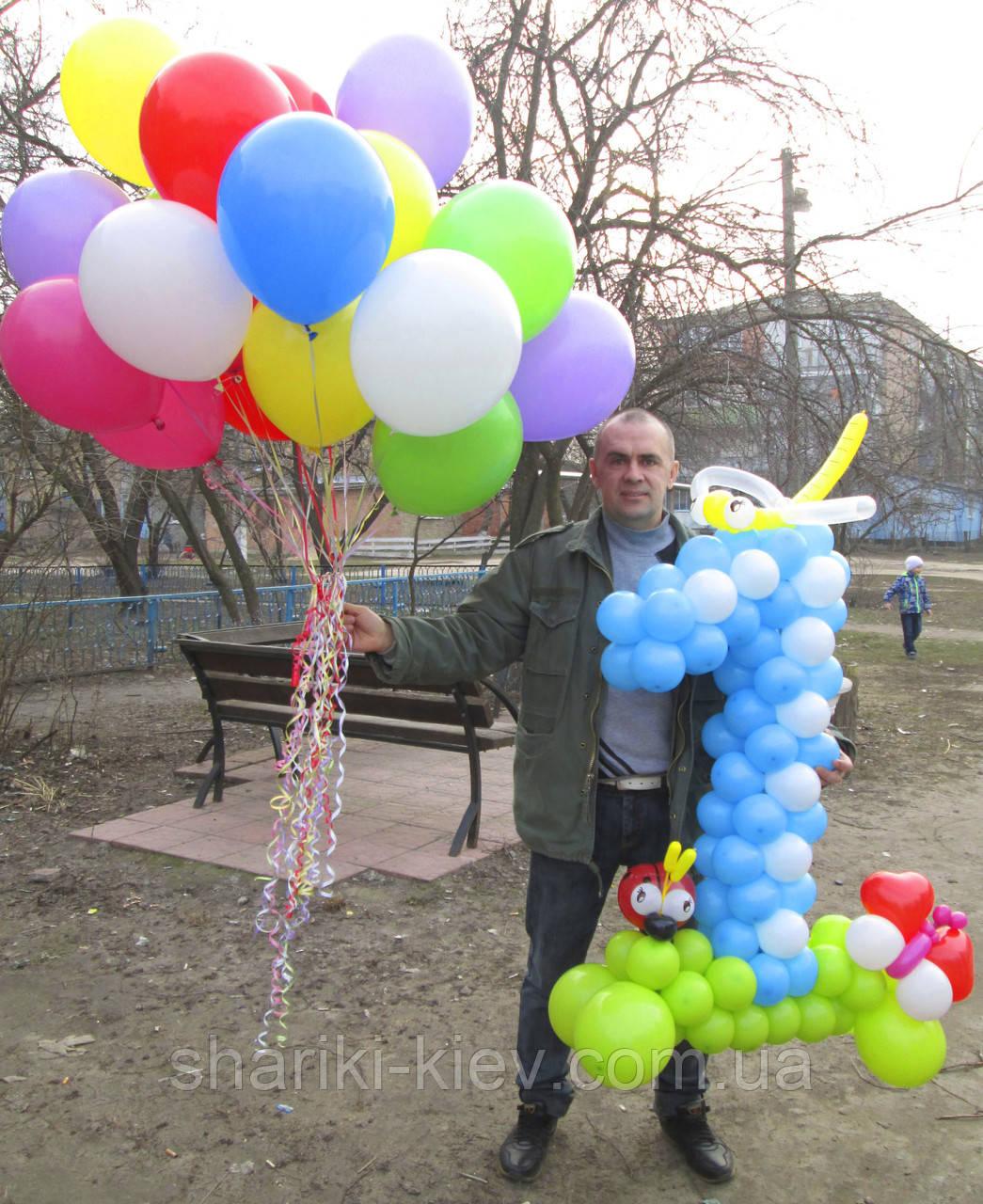 Набор Цифра 1 голубая из воздушных шариков и 25 гелиевых шаров  на Первый День Рождения  - Магазин Шариков и Товаров для праздника Кids шарики Киев  в Киеве