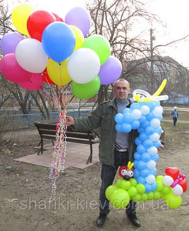 Цифра 1 голубая из воздушных шариков на Первый День Рождения , фото 2