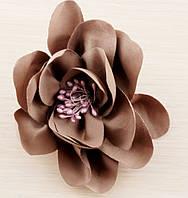 Брошь цветок нежно-коричневый 100мм
