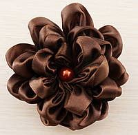 Брошь цветок коричневый 90мм