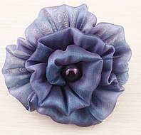 Брошь цветок сине-фиолетовый с отливом 80мм