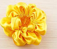 Брошь цветок желтый 75мм