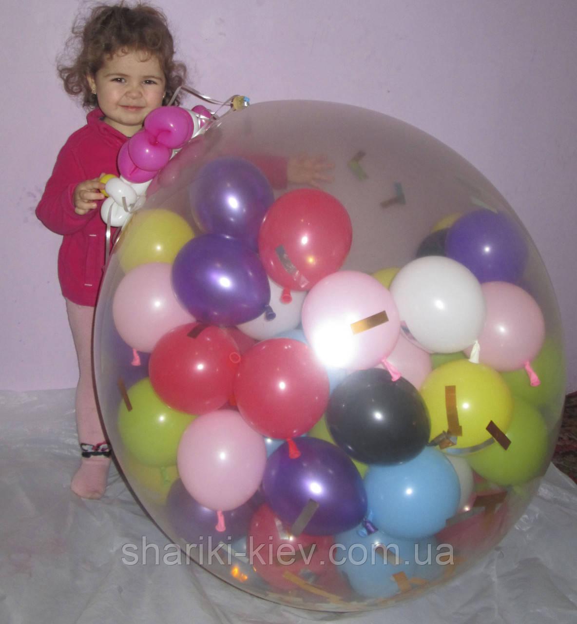 Шар-сюрприз 70 см. 100 шариков на День Рождения, Юбилей, Свадьбу