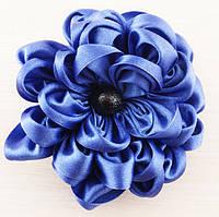 Брошь цветок синий 90мм