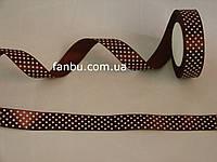 Лента атласная коричневая в белый горох (ширина 2.5см