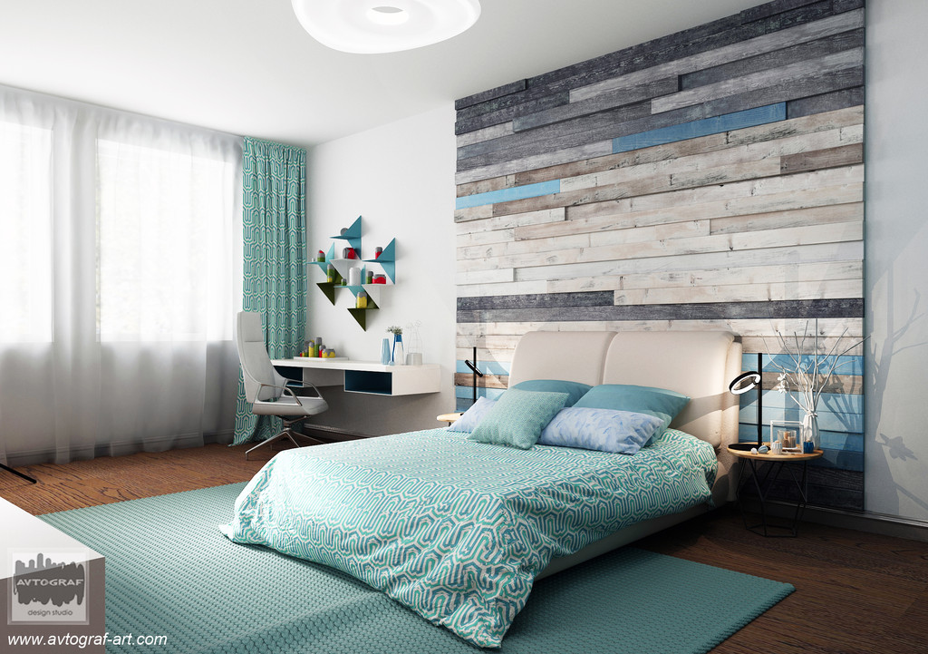 Bedroom for a teenager. Fresh and bright.