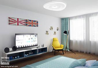 Спальня для подростка. Свежая и яркая. Площадь спальни 30 метров квадратных. Мебель выполнена из натурального дерева, металла и крашенного МДФ.  Тонкие стенки мебели из металла создают ощущение легкости. Натуральная паркетная доска придает уют этой