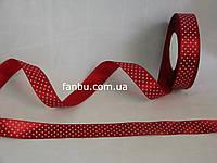 Лента атласная темно красная в белый горох (ширина 2.5см