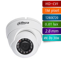 Dahua DH-HAC-HDW1000M-S2 купольная мини видеокамера HD-CVI 720p