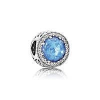 """Бусина-шарм Pandora (Пандора) серебро 925 пробы для браслета Pandora голубого цвета """"Зимняя сказка"""""""