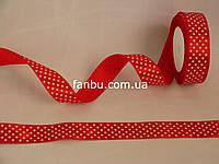 Лента атласная ярко красная в белый горох (ширина 2.5см