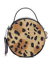 Сумка женская черного цвета, лаковая, леопардовая раскраска