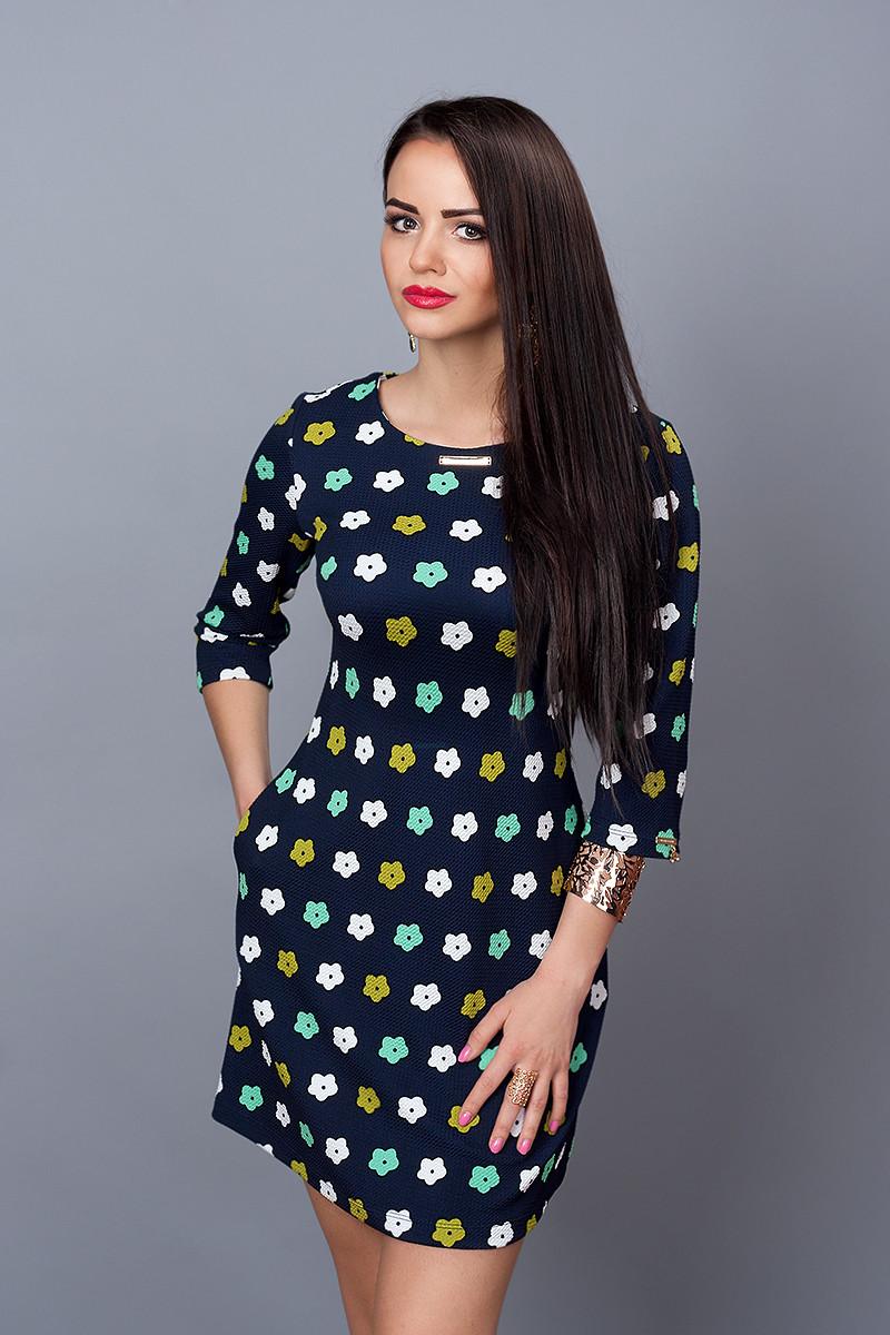 Платье мод. 237-14,размер 42 бирюза с черным