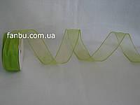 Лента однотонная из органзы с проволочным краем,цвет салатовый ширина 3.8см