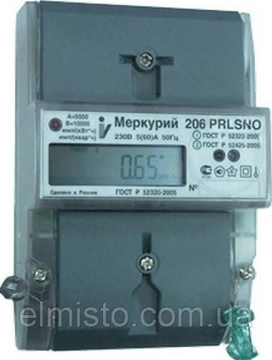 Счетчик Меркурий 206 PLNO 5(60A)  230В многотарифный однофазный актив-реактив с PLC-модемом и реле управления