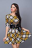 Платье  мод 373-18 размер 44,46 горчица с белым