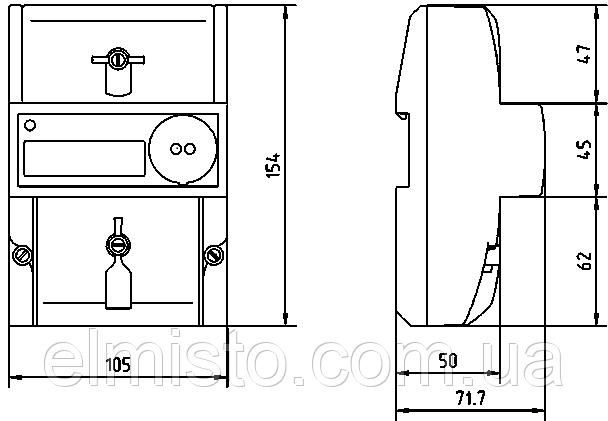 Габаритный чертёж электросчетчика счётчика Меркурий 206 PLNO
