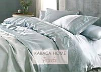 Постельное белье Karaca Home Tugce su yesil бирюзовое + покрывало Pike.
