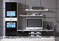 Мебельная стенка Zara I белый/черный глянец + черный