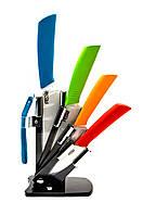Набор керамических ножей на подставке разноцветные Ceramic knife (4 ножа + чистилка)