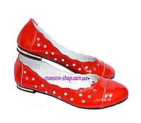 Красные кожаные женские балетки от производителя, фото 1