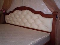 Деревянная кровать с мягким изголовьем  «Татьяна Элегант Люкс» (массив дерева + ДСП + экокожа)