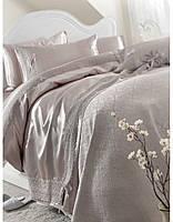 Постельное белье Karaca Home Tugce vizon серое + покрывало Pike.