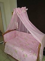 """Фирменный комплект постельного белья 8 предметов """"Мишки с пчелками мелкие"""" розовый"""
