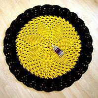 Коврик для пола вязаный ручной работы желтый коричневый
