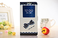 [ Чехол-книжка Lenovo S890 ] Красочный чехол-книжка с окошком на смартфон Леново 890 Бант