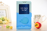 [ Чехол-книжка Lenovo S890 ] Красочный чехол-книжка с окошком на смартфон Леново 890 Дельфин