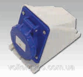 Розетка настенная наклонная, IP44 16A 220-240V 2P+T