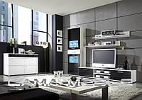 Мебельная стенка Zara II Белый/черный глянец + черный