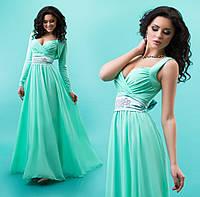 Нежное женское платье в пол с шифоновой юбкой с болеро