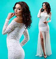 Приталенное женское гипюровое платье с шифоновой юбкой
