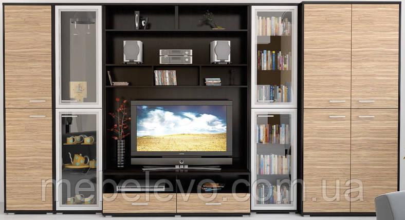Гостиная Аманда  2200х4051х527мм венге темный + зебрано   Мебель-Сервис, фото 2