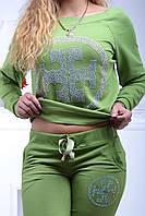 Брендовый гламурный спортивный костюм женский реглан Турция с 36 по 44 размер горохового цвета