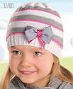 Дитячий демісезонний шапка трикотажна в смужку з бантиком для дівчинки (AJS, Польща), фото 5