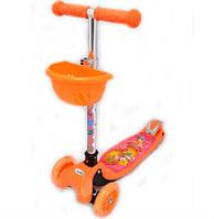 Детский самокат трехколесный с наклоном руля оранжевый, колеса светятся